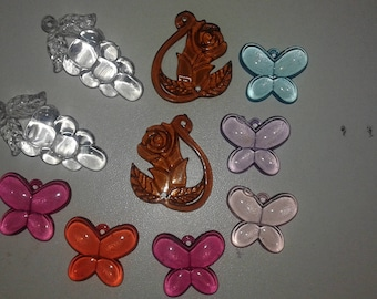 10 charms resin flower and butterflies mix patterns