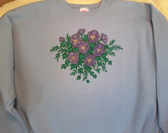 XL Women's Violet Bouquet sweatshirt hand-painted using Tri-Chem Liquid Embroidery is pretty and washable