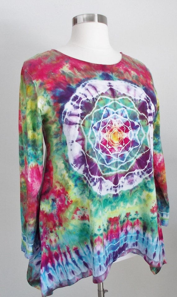 Hanky-hem Ice dye tie dye 2XL Women's  Long Sleeve Cotton Shirt Tunic