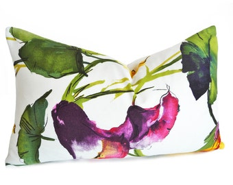Lumbar Watercolor Pillow, Floral Pillow Covers, Colorful Pillows, Gift for MOM, White Purple Pink Yellow Green, 12x18, 12x20, 16x22 16x26