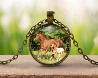 HORSE PENDANT, Horse Necklace, Horse Lover, Appaloosa Horse, Equine Jewelry, Equestrian Jewelry, Spotted Horse, Horse Art, Mare and Foal