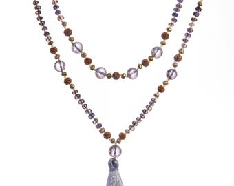 Iolite, lavender amethyst, pyrite and rudraksha mala