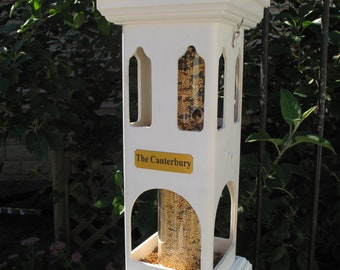 White PVC tube bird feeder.durable,decorative affordably priced - long lasting - hand made in USA. ez2 fill, ez2 clean -Canterbury