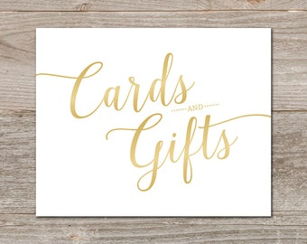 Gradient Gold Cards and Gifts Sign // Printable Wedding Card Sign, Instant Download // Gold Wedding Printable Signs 5x7 and 8x10