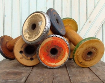 "SALE Today Rustic Vintage Old Chippy Paint 8 1/2 9 1/2"" Wooden Textile Mill Spool Shabby Hygge Organize Ribbons and Trims with Wood Bobbin S"