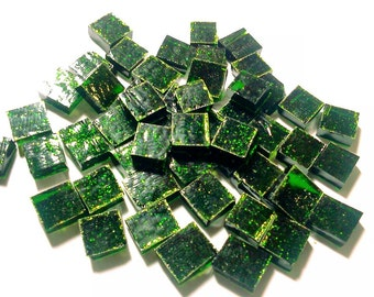 """100 1/4"""" Tiny Tiles LT AVENTURINE GREEN #1 Stained Glass Mosaic i-10"""