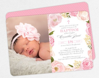 Photo Baptism Invitation, Christening Invitation, Girl Baptism Invitation, Printable Baptism, Watercolor Flowers, Floral, PDF, Pink, Camilla
