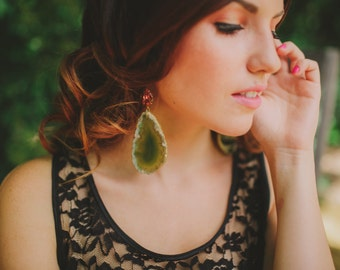 Green Druzy Agate Raw Stone Slice Earrings Geode and Peach Crystal-- Featured in the Etsy Finds!