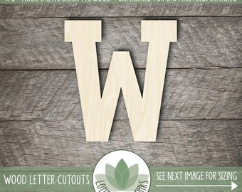 Wood Letter or Number Cut Out Athletic Block, Unfinished Wood Letters, DIY Craft Supply, Many Size Options, All Letters & Numbers Available