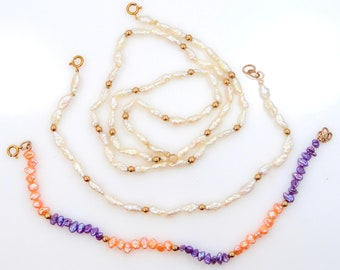 14k Gold Freshwater Pearls Necklace & 2 Bracelets