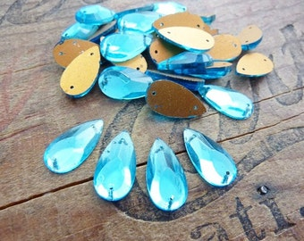 Vintage Two Hole Teardrop Glass Sew On Beads