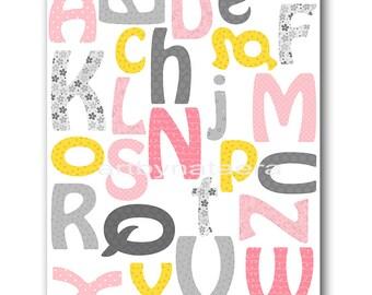 Digital Alphabet Nursery Printable Wall Art Baby Nursery Decor Printable Decor Baby Girl Nursery Digital Print 8x10 11X14 INSTANT DOWNLOAD