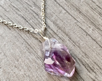 Amethyst Necklace, Raw Amethyst, Raw Crystal Necklace, Amethyst Pendant, Raw Stone Necklace, February Birthstone, Layering Necklace