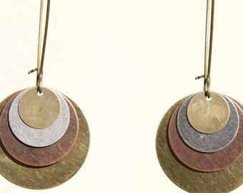 Boho Earrings, Dangle Earrings, Bohemian Earrings, Mixed Metal Earrings, Copper Brass Silver Earrings,, Boho Jewelry, Gift for women, Gift