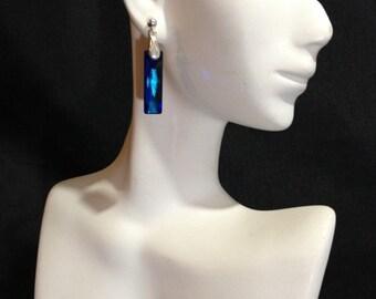 Swarovski Crystal Bermuda Blue Earrings, Blue Crystal Earrings, Blue Baguette Earrings, Dangle Earrings