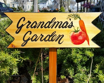 Garden Signs, Personalized Garden Signs,  Custom Garden Sign  Fathers Day Gift  Grandmas Garden Grandpas Garden Pop Pops Garden Nanas Garden