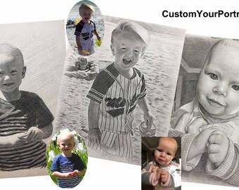 Custom Pencil Portrait pencil sketch portrait custom pencil sketch custom pencil drawing custom sketch from photo custom couple portrait