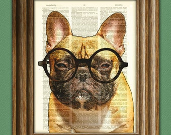 Grouchy McPoutypants the French Bulldog with round glasses illustration beautifully upcycled dictionary page book art print