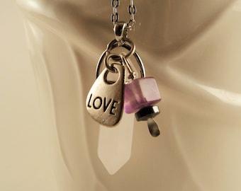 Pale Rose Quartz Point Pendulum Necklace -Rose Quartz, Amethyst, Hematite and Silver Love Charm Chain Divination Tool Layering Necklace
