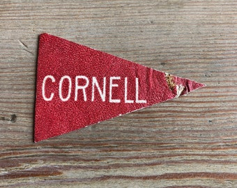 Cornell leather mini Pennant Vintage Tobacco premium 1910s red white graduation gift