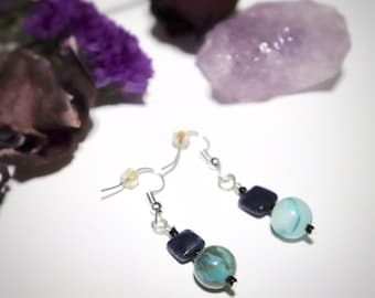 Lapis Lazuli Wire Wrapped Dangle Earrings, Gemstone Earrings, Semi Precious Stone Wire Wrapped Earrings, Handmade Earrings, Gifts for Her