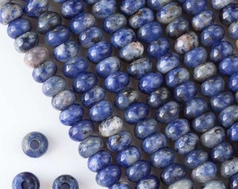 Sodalite - Faceted Rondelle Beads - Smooth Polished - Center Drilled - Bead Size 5x8mm - Large Hole 2.5mm - 10 Beads per Order