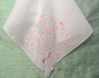 Monogram J handkerchief / embroidered pink on white hankie / initial J, letter J