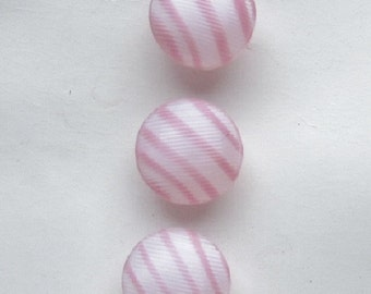 Pink And White Candy Stripe Glass Buttons.  Schwanda Original Card Candy Stripe Buttons  OneWomanRepurposed B642