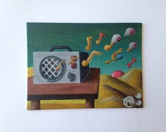 "iTunes, 6"" x 8"", canvas panel, 2016"