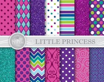 LITTLE PRINCESS Digital Paper Downloads | Girl Printables Patterns | Princess Party Digital Paper Patterns | Sparkle Printable Scrapbook