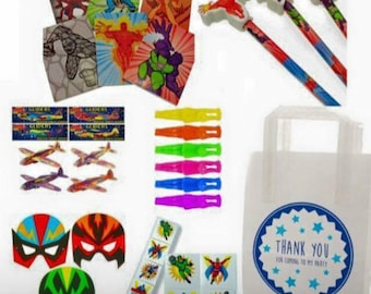 Pre-filled Super Hero Party bags | Birthday Party Bags | Super Hero themed Party | Party Favours | Gift bags