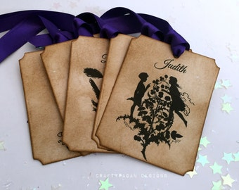 60 Midsummer Nights Dream Name Tags WITH Guest Printing/ Fantasy Fairytale Wedding Place Name Tag/ Shakespeare Characters Wedding Tags