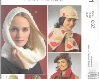 McCall's Fashion Accessories Pattern 5541 Misses HATS SCARVES & MITTENS