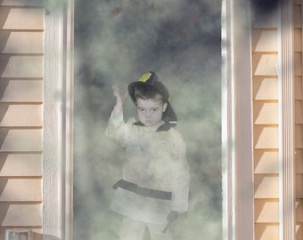 Firefighter coming out door.  Green Screen/Photoshop background with 2  .PNG overlays