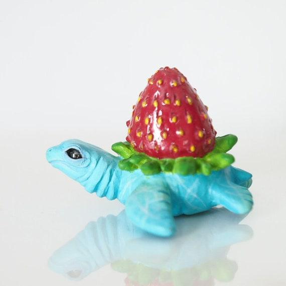 STRAWBERRY TURTLE  - Handmade Polymer Clay Sculpture