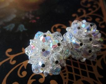 Aurora Borealis Crystal Clip On Earrings Vintage Wedding