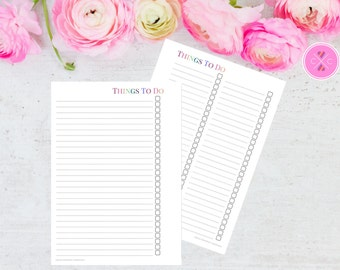 Multicolour Printable To Do List Insert for Large Kikki K and A5 Filofax Planners - Instant Downloadable Planner Insert