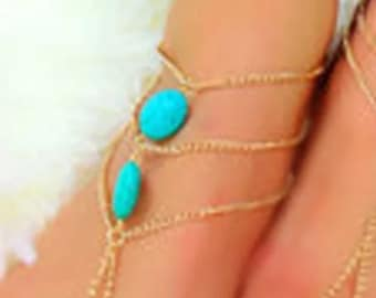Turquoise Barefoot Sandal Or Hand Jewelry