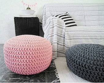 Light Pink Knit Pouf Ottoman, Nursery Round Footstool, Baby Girl Pouffe Seat, New Parents Gift