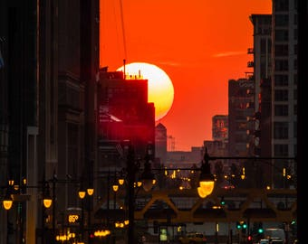 Chicagohenge | Chicago photography | Color Photography | Affordable Wall Art | Sunset | Fine Art Photography | Gift | Art Prints | Photo