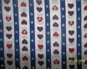 Patriotic Hearts Cotton Blend Fabric #24