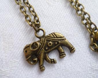 Elephant necklace,elephant jewellery,small elephant charm,bronze elephant,buddhist jewellery,simple jewelry,gift,handmade,pendant