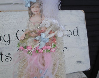 Easte*Spring*Beautiful little girl bump chenille ornament with pink legs*Ostrich feather trim*Millinery flowers*Oh darling