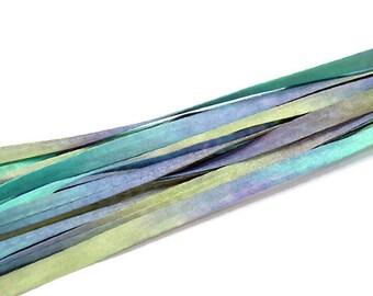 5YD PARAKEET Hand Dyed Silk Cording//4MM Hand Dyed DIY Silk Necklace/Bracelet Cording//Hand Dyed 5YD. Silk Cording Bundles