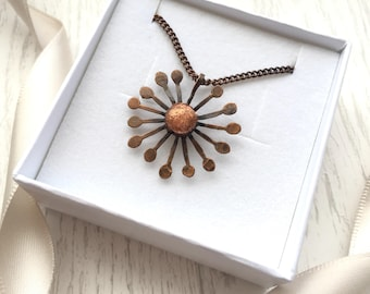 Dandelion necklace, Make a Wish, Copper dandelion necklace, dandelion clock, copper pendant, copper necklace, nature jewelry, polymer clay,