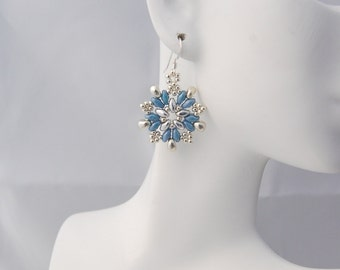 Superduo Snowflake Earrings- 3 colors to choose from.