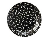 Black and White Squiggle Small Paper Plates - Art School memphis print plates - birthday party wedding shower superhero graduation