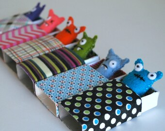 Turquoise Blue Matchbox Monster with play accessories - tiny plush - kawaii - stocking stuffer - kids tween gift - cute stuffed - monsters