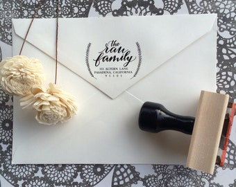 Address Stamp / Calligraphy Stamp / Wedding Stamp / Wedding Invitations / Housewarming Gift / Christmas Stamp / Save the Date / Wreath Stamp