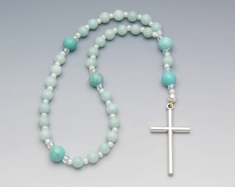Anglican Prayer Beads - Amazonite & Turquoise Magnesite Gemstone Christian Rosary - Item # 819